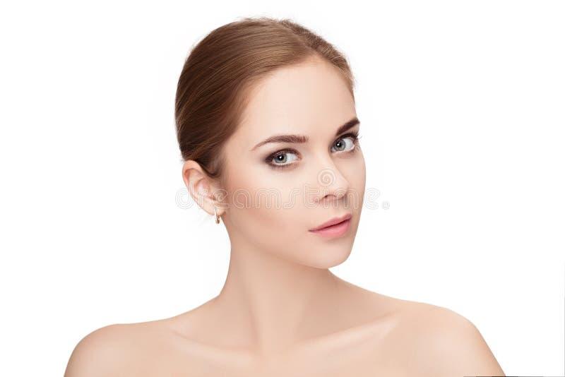 Profilieren Sie Porträt von schönen jungen Blondinen mit grünen Augen stockbilder
