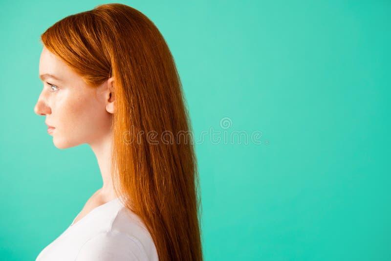 Profilieren Sie Seitenansicht von nettem ruhigem ruhigem zufriedenem nettem attraktivem lizenzfreies stockfoto