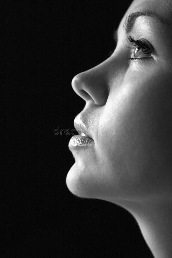 Profilo alto vicino della donna. fotografia stock