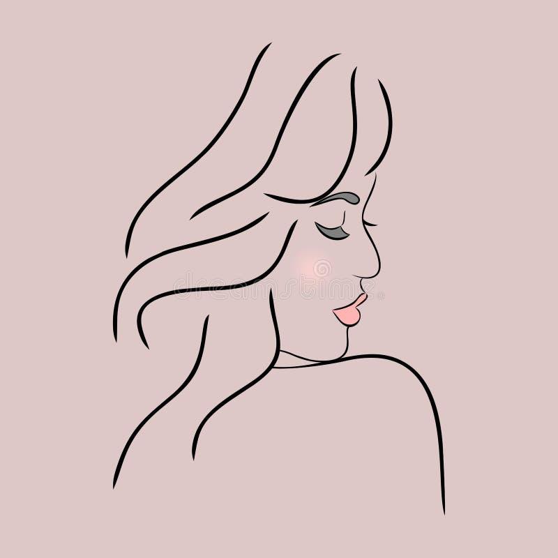 Profilo astratto del fronte della ragazza illustrazione vettoriale