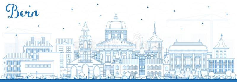 Profilo Bern Switzerland City Skyline con le costruzioni blu illustrazione di stock