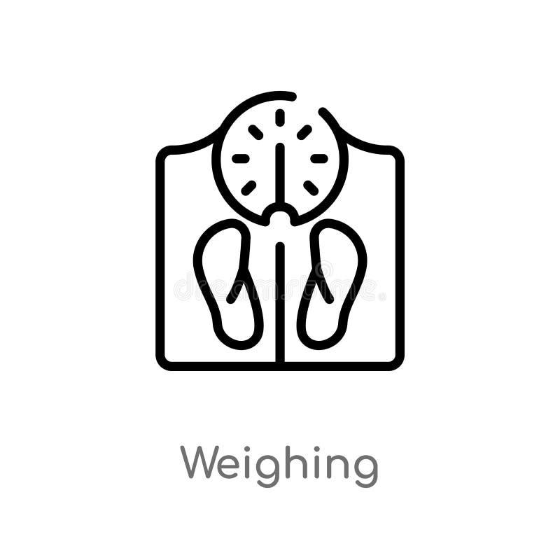 profilo che pesa l'icona di vettore linea semplice nera isolata illustrazione dell'elemento dal concetto degli apparecchi elettro illustrazione di stock