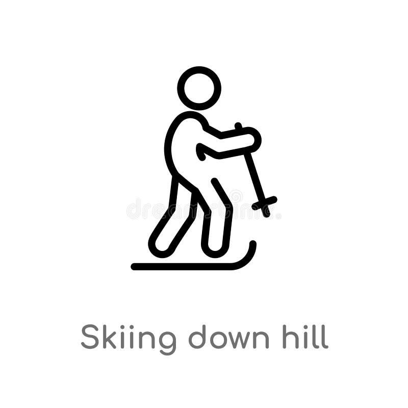 profilo che scia giù l'icona di vettore della collina linea semplice nera isolata illustrazione dell'elemento dal concetto di spo illustrazione vettoriale
