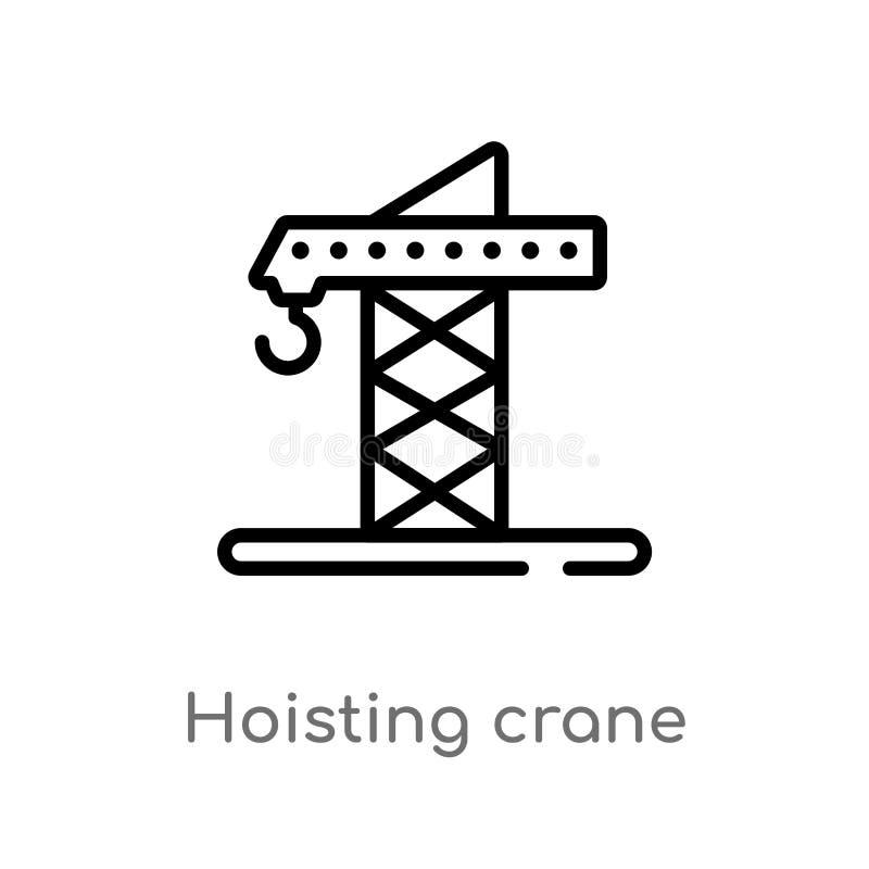 profilo che solleva l'icona di vettore della gru linea semplice nera isolata illustrazione dell'elemento dalla segnalazione del c illustrazione di stock