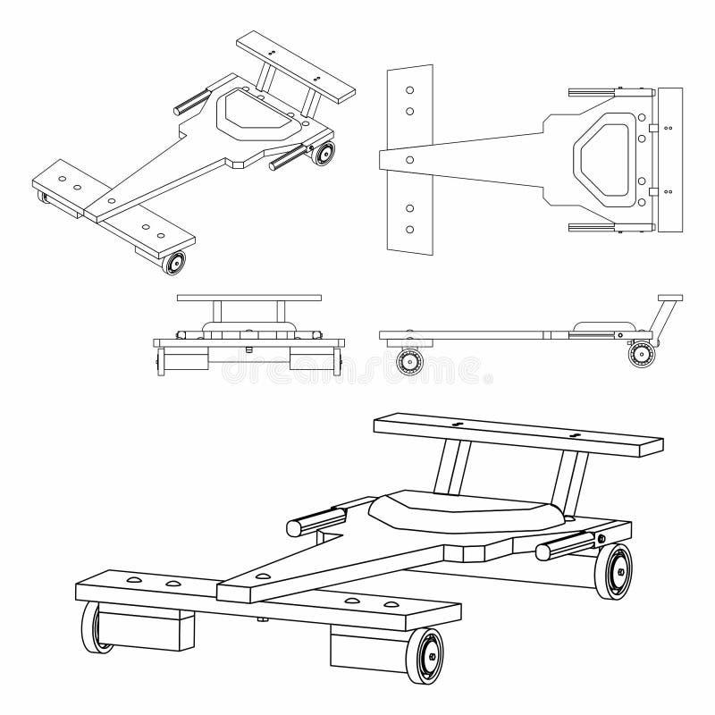 Profilo classico dell'automobile del Soapbox soltanto illustrazione vettoriale