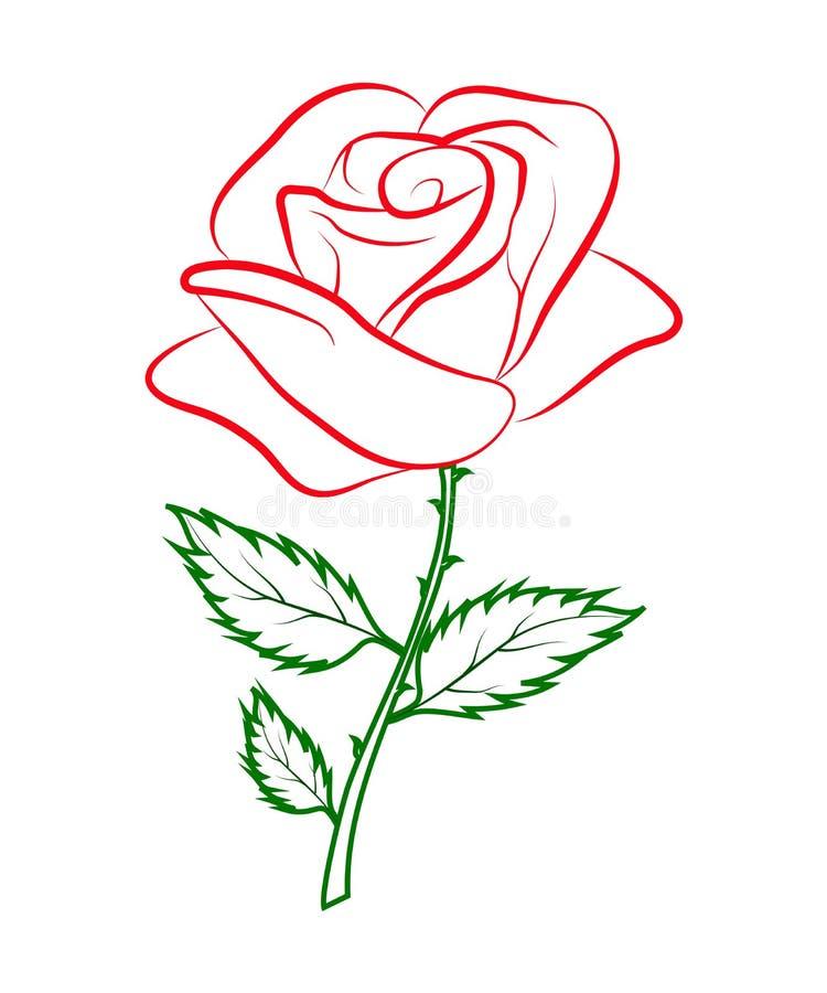 Profilo colorato semplice di una rosa rossa su un gambo verde royalty illustrazione gratis