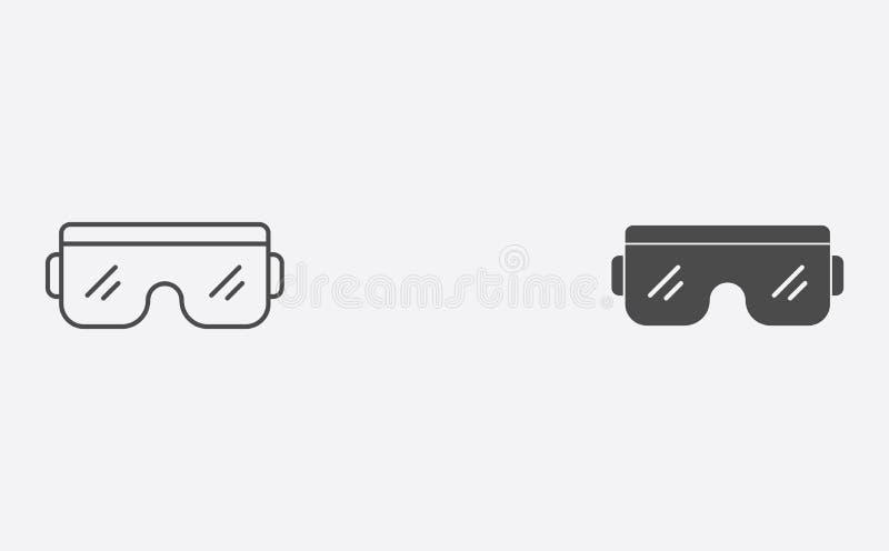 Profilo degli occhiali di protezione e simbolo riempito del segno dell'icona di vettore illustrazione di stock