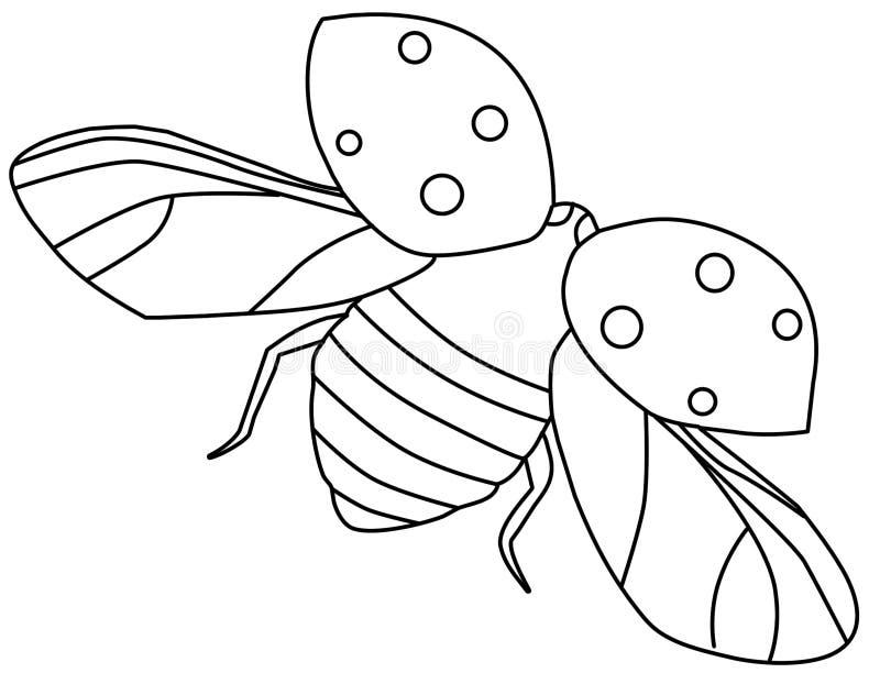 Profilo del ladybug di volo illustrazione vettoriale