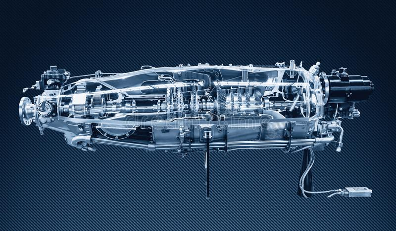 Profilo del motore a turbina Tecnologie di aviazione fotografia stock libera da diritti