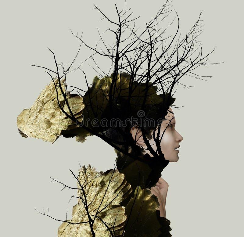 Profilo del ritratto di Extravange di bella ragazza fotografia stock libera da diritti