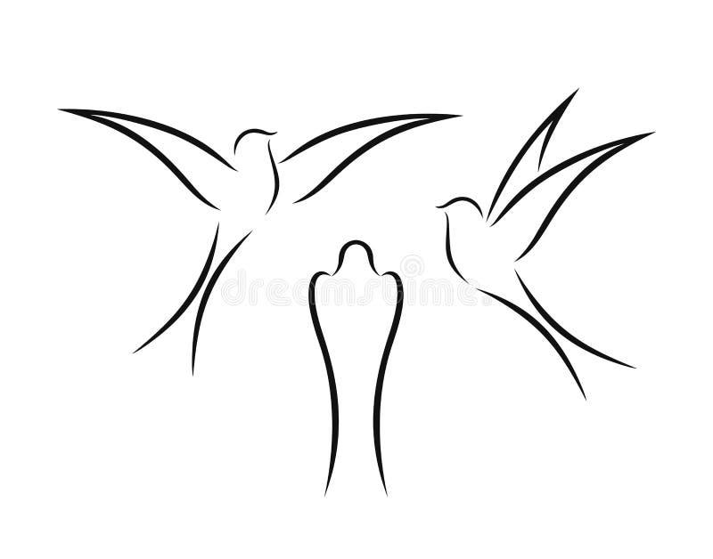 Profilo del sorso Sorso isolato su backgroun bianco uccello illustrazione vettoriale