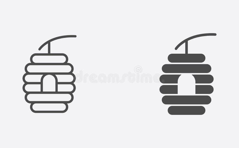 Profilo dell'alveare e simbolo riempito del segno dell'icona di vettore illustrazione di stock