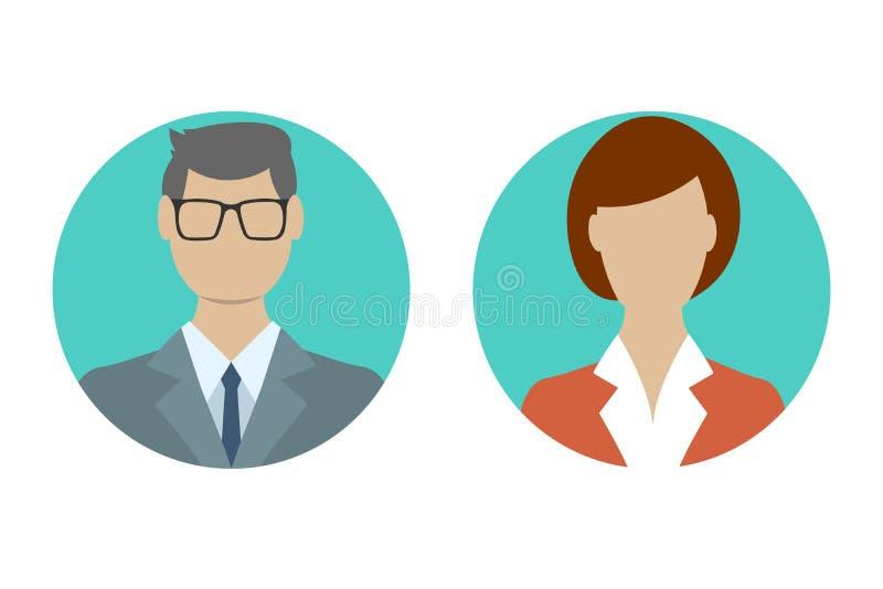 Profilo dell'avatar della donna e dell'uomo nella progettazione piana Maschio ed icona femminile del fronte Illustrazione di vett illustrazione vettoriale