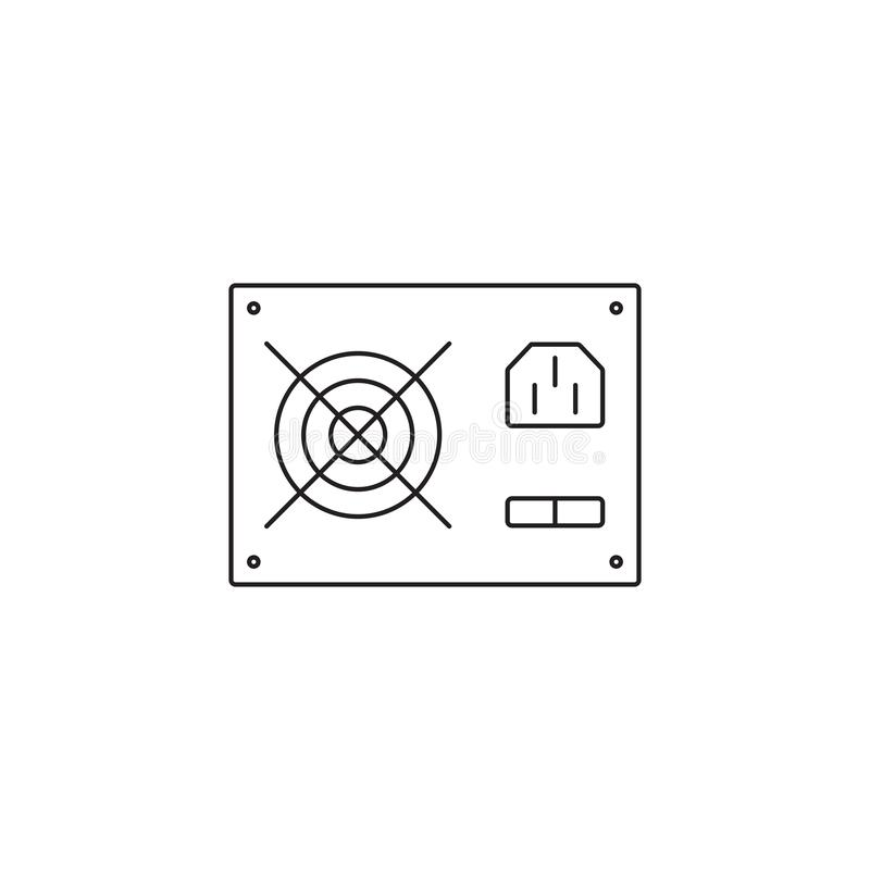 Profilo dell'icona dell'alimentazione elettrica del computer o linea illustrazione di vettore di stile illustrazione vettoriale
