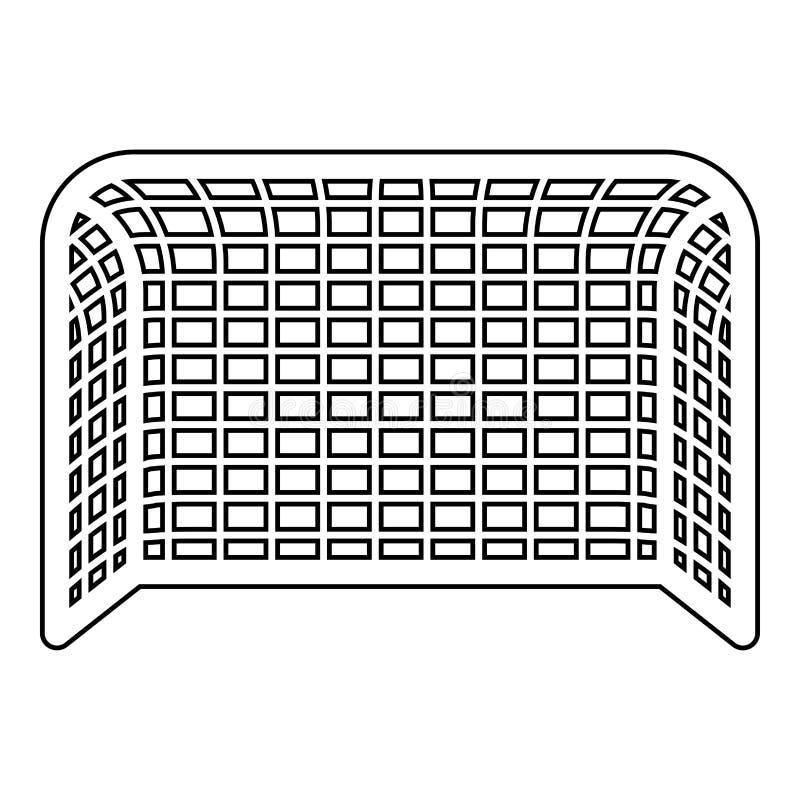 Profilo dell'illustrazione di colore del nero dell'icona del punteggio di concetto del portone di pallamano del portone di calcio illustrazione vettoriale