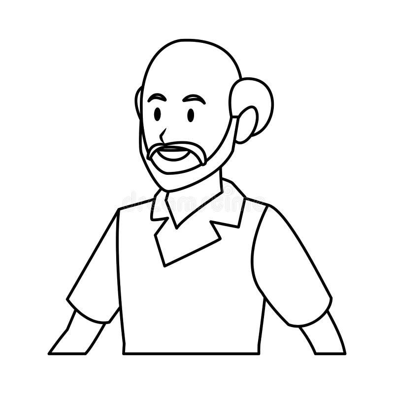 Profilo dell'uomo anziano in bianco e nero illustrazione vettoriale