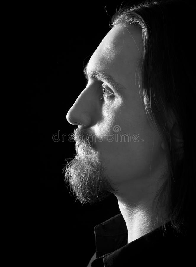 Profilo dell'uomo barbuto bello immagini stock