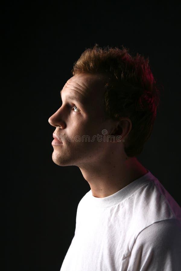Profilo dell'uomo con i capelli retrocedere immagine stock