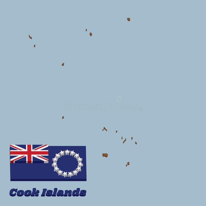 profilo della mappa 3D e bandiera del cuoco Islands, guardiamarina blu con un anello di quindici stelle bianche nella mosca illustrazione di stock