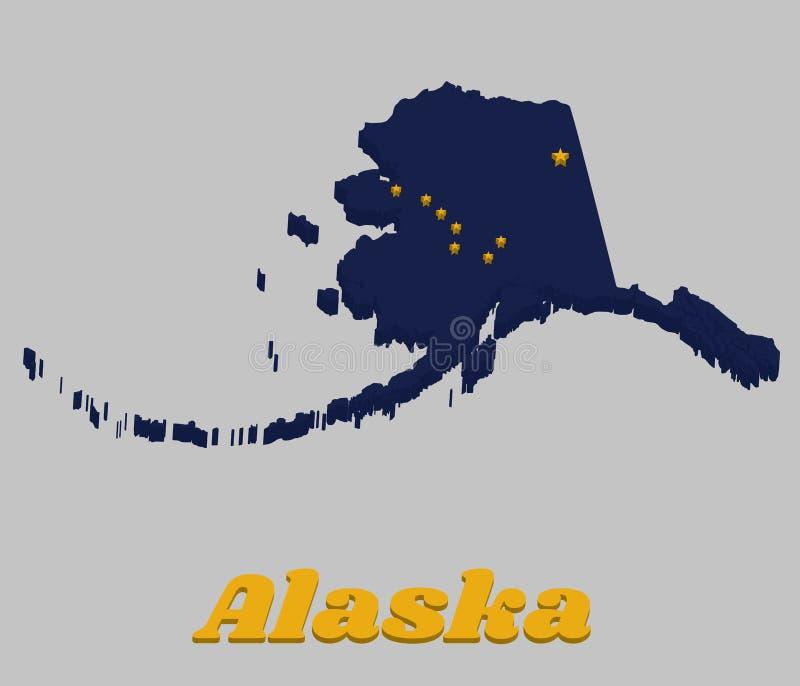 profilo della mappa 3D e bandiera dell'Alaska, otto stelle d'oro, sotto forma di illustrazione di stock