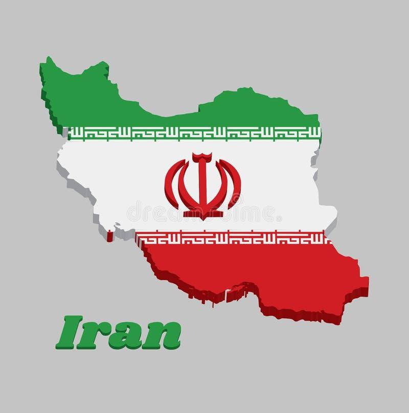 profilo della mappa 3D e bandiera dell'Iran, un tricolore orizontal di verde, di bianco e di rosso con l'emblema nazionale nel ro illustrazione di stock
