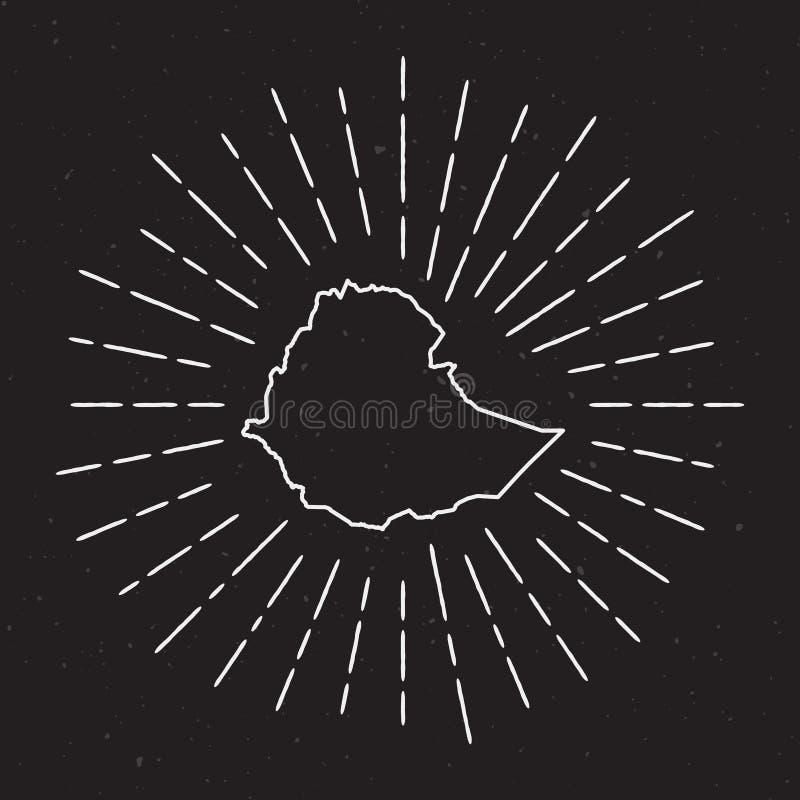 Profilo della mappa di vettore dell'Etiopia con lo sprazzo di sole d'annata illustrazione di stock