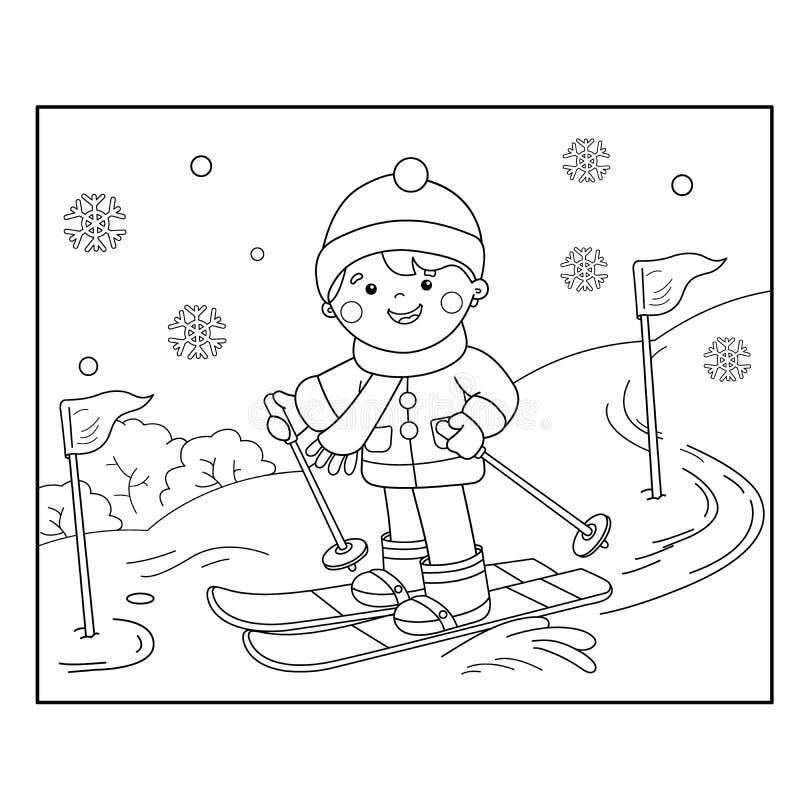 Profilo della pagina di coloritura di corsa con gli sci del ragazzo del fumetto Azzurro, scheda, pensionante, imbarco, esercitazi illustrazione vettoriale
