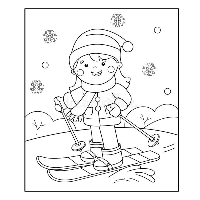 Profilo della pagina di coloritura di corsa con gli sci della ragazza del fumetto Azzurro, scheda, pensionante, imbarco, esercita royalty illustrazione gratis