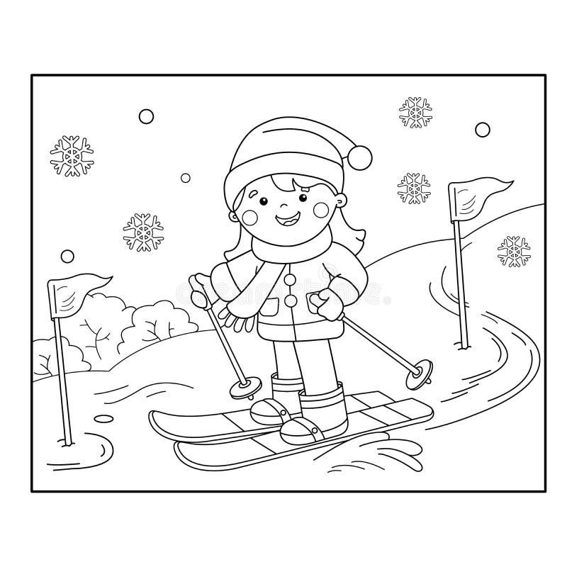 Profilo della pagina di coloritura di corsa con gli sci della ragazza del fumetto Azzurro, scheda, pensionante, imbarco, esercita illustrazione vettoriale