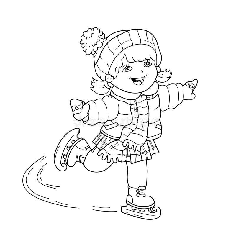 Profilo della pagina di coloritura di pattinare della ragazza del fumetto Azzurro, scheda, pensionante, imbarco, esercitazione, e royalty illustrazione gratis