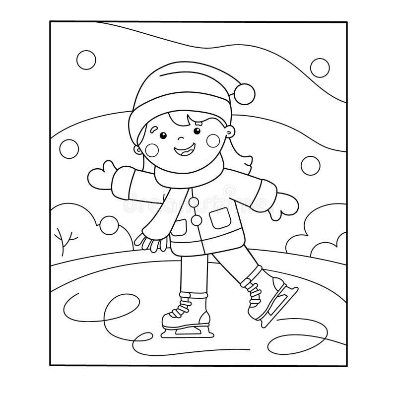 Profilo della pagina di coloritura di pattinare della ragazza del fumetto Azzurro, scheda, pensionante, imbarco, esercitazione, e illustrazione di stock