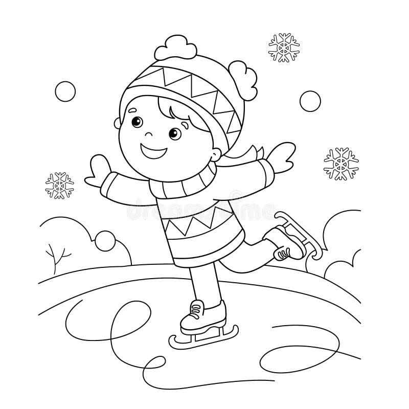 Profilo della pagina di coloritura di pattinare della ragazza del fumetto Azzurro, scheda, pensionante, imbarco, esercitazione, e illustrazione vettoriale