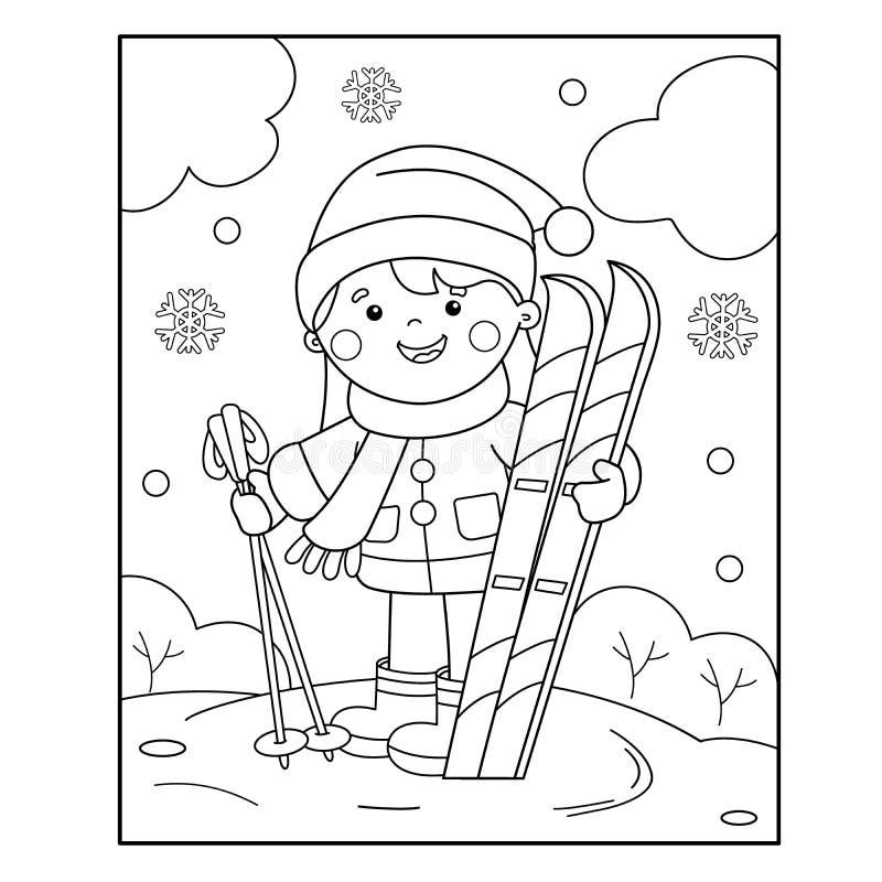 Profilo della pagina di coloritura della ragazza del fumetto con gli sci Azzurro, scheda, pensionante, imbarco, esercitazione, es illustrazione vettoriale