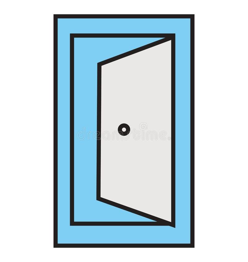 Profilo della porta aperta ed icona isolata riempita di vettore che possono essere pubblicati o modificati facilmente illustrazione vettoriale