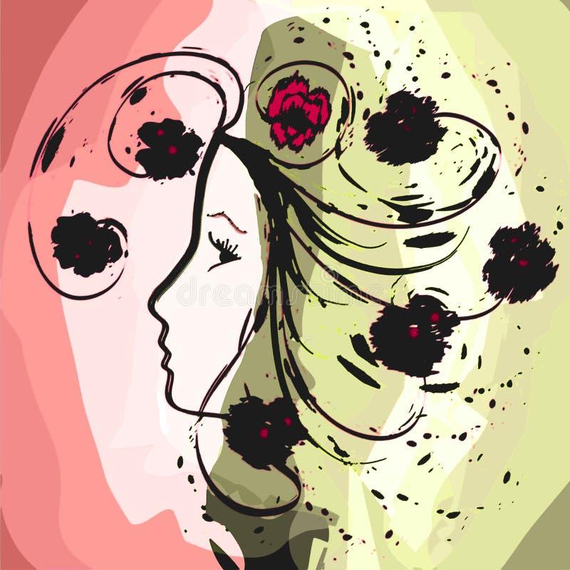 Profilo della ragazza nella progettazione floreale dell'acquerello di lerciume illustrazione di stock
