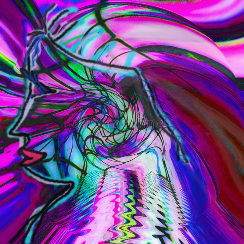 Profilo della siluetta di un uomo a colori le linee illustrazione di stock