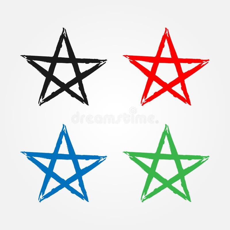 Profilo della stella disegnato a mano con la spazzola ruvida Icona isolata, simbolo, segno illustrazione vettoriale