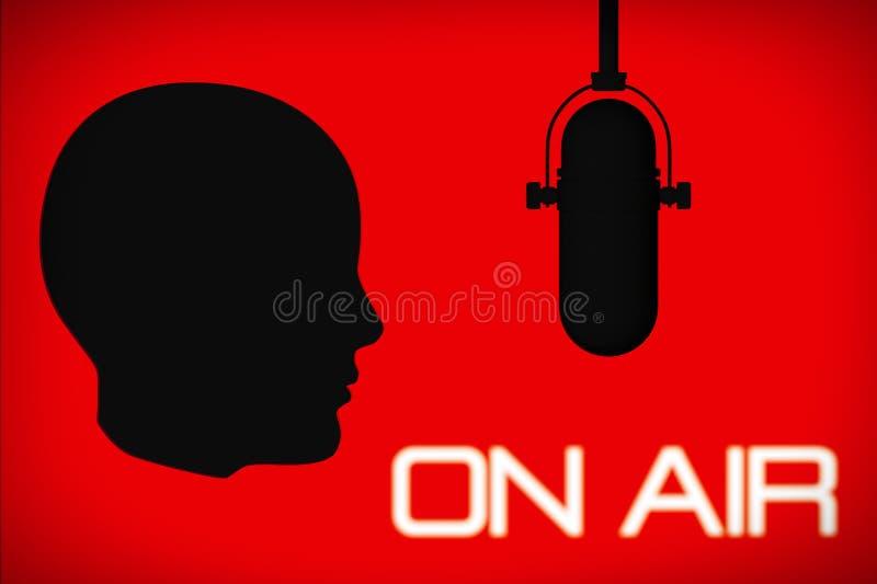 Profilo della testa con il microfono d'annata e sul segno dell'aria illustrazione di stock