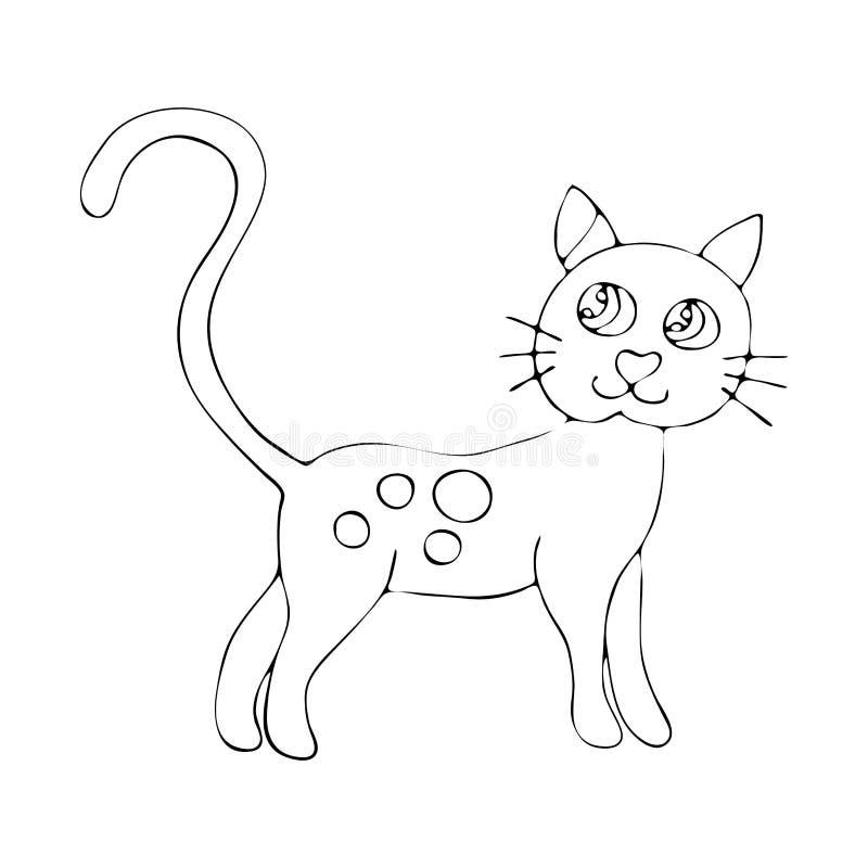 Profilo di coloritura della pagina di vettore del libro da colorare lanuginoso del gatto del fumetto per i bambini illustrazione di stock