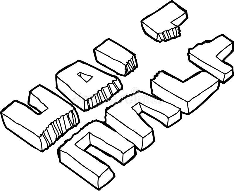 Profilo di mezza parola strappata illustrazione di stock