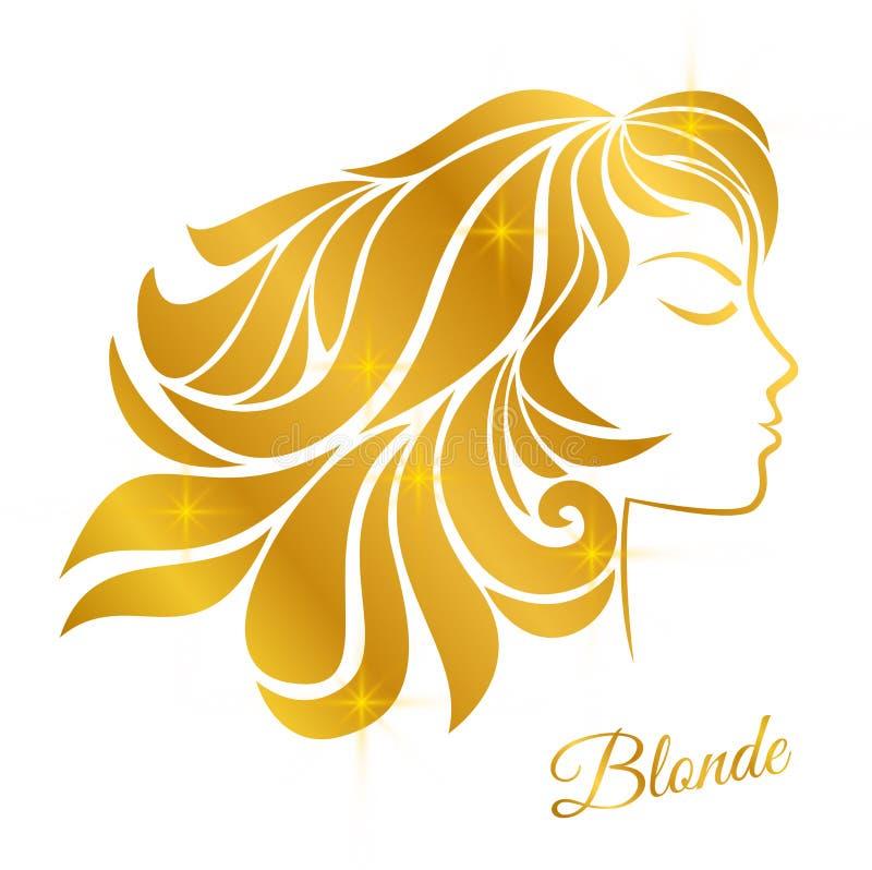Profilo di una ragazza bionda con capelli dorati e lustro isolata su un fondo bianco illustrazione di stock