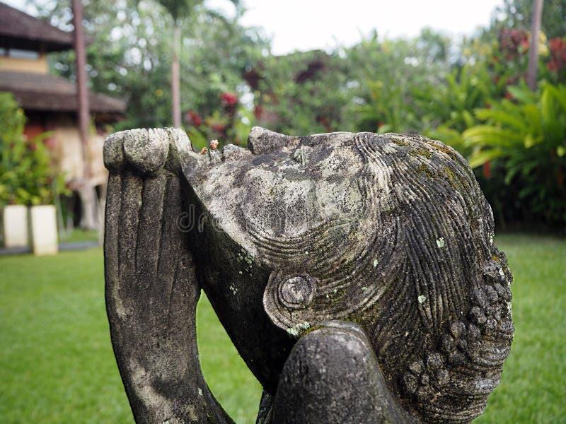 Profilo di una statua di una donna che prega in un giardino, Bali, Indonesia fotografia stock libera da diritti