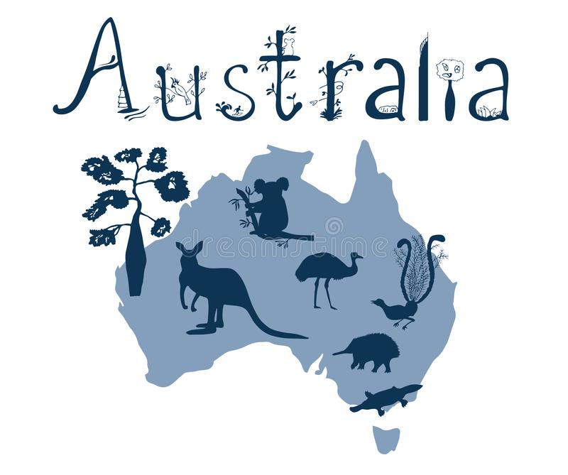 Profilo di vettore dell'Australia con gli animali australiani royalty illustrazione gratis
