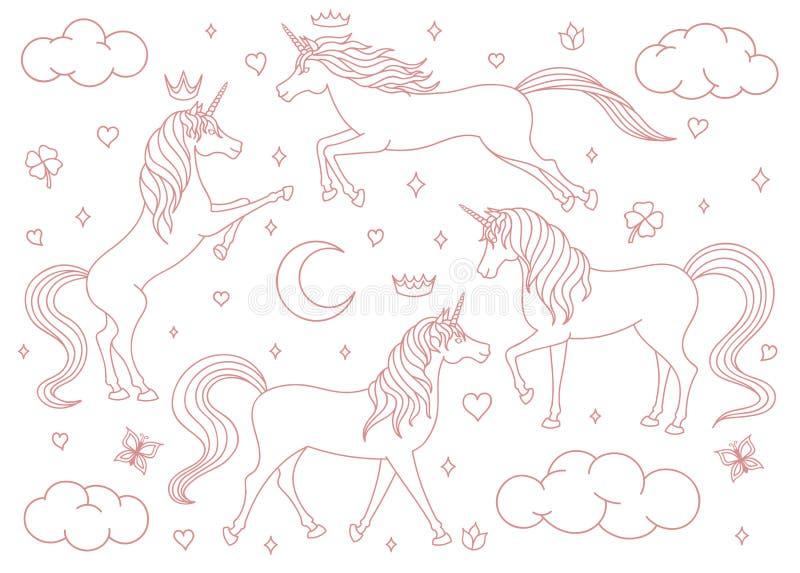 Profilo disegnato a mano degli unicorni del fumetto di vettore messo isolato su fondo bianco Creature magiche con le stelle, lune royalty illustrazione gratis
