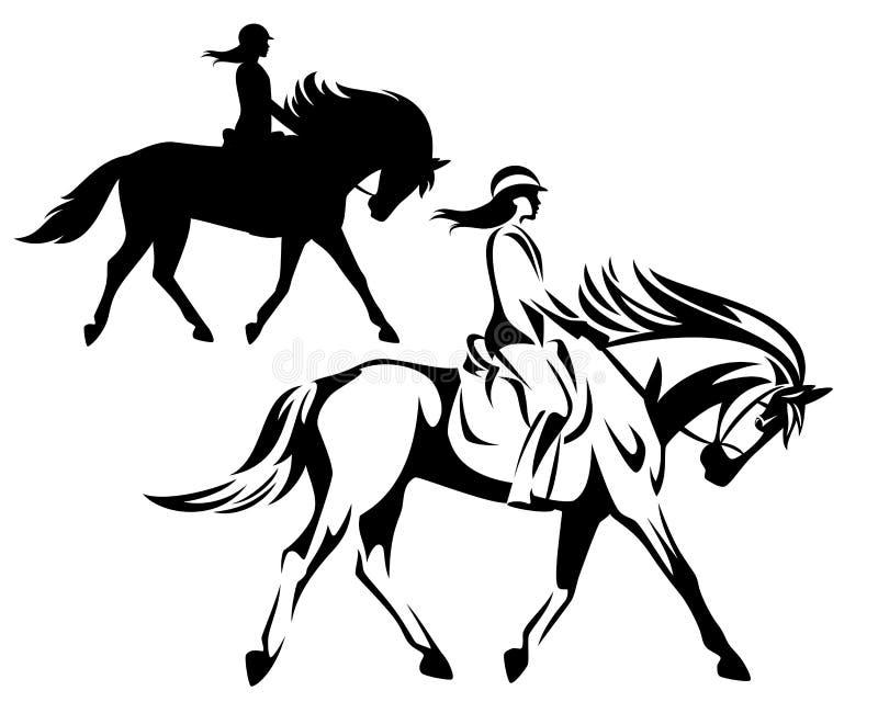 Profilo e siluetta di vettore del nero del cavallo da equitazione della donna royalty illustrazione gratis