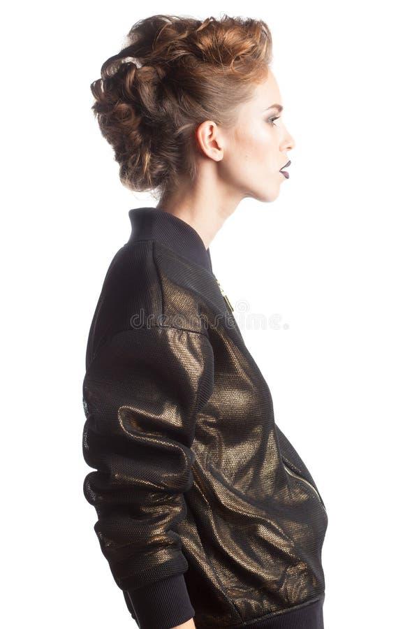Profilo femminile del modello di moda isolato su fondo bianco immagine stock libera da diritti