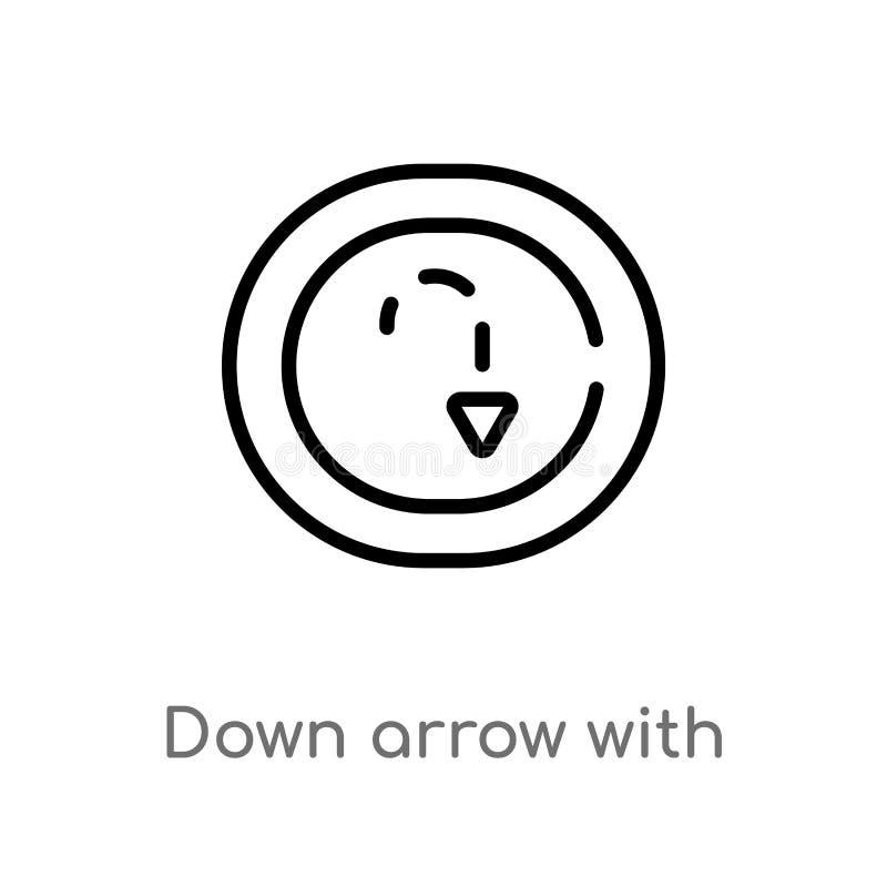 profilo giù la freccia con le linee tratteggiate icona di vettore linea semplice nera isolata illustrazione dell'elemento dal con illustrazione vettoriale
