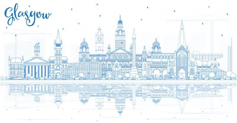 Profilo Glasgow Scotland City Skyline con le costruzioni ed il Re blu illustrazione vettoriale