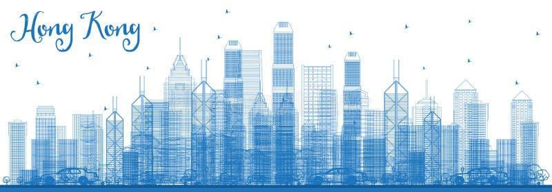 Profilo Hong Kong China Skyline con le costruzioni blu illustrazione di stock
