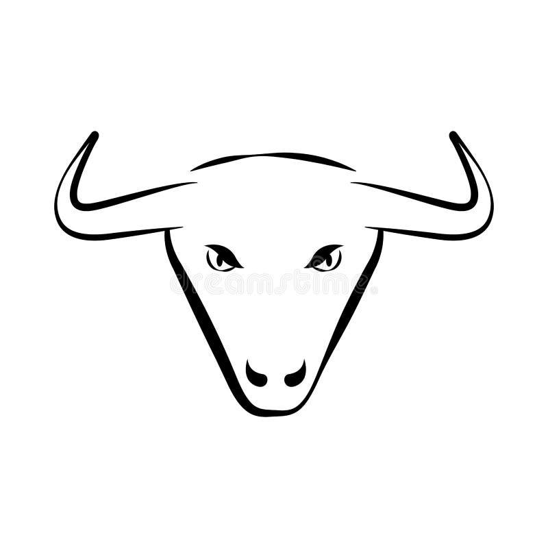 Profilo isolato di un toro illustrazione vettoriale